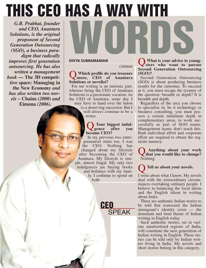 Anantara Solutions Founder Mr. G. B. Prabhath news article about second generation outsourcing(sgo)