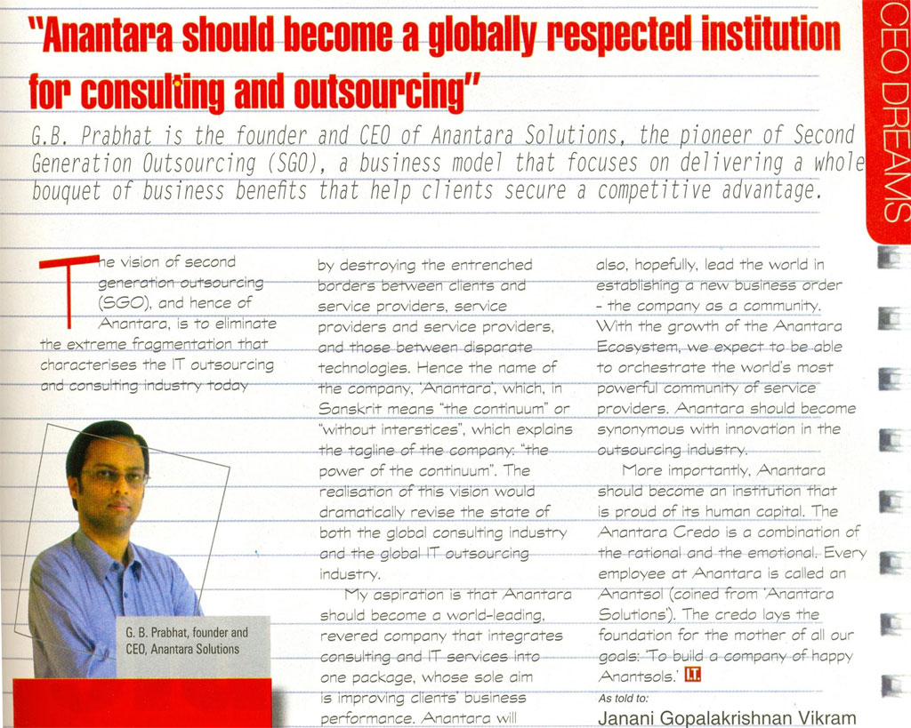 Anantara Solutions Founder  Mr. G. B. Prabhath write-up about IT Consulting and Outsourcing.